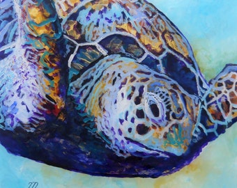 Honu 2 Sea Turtle 8x8 Ocean Art Print from Kauai Hawaii by Marionette blue teal gold purple turquoise
