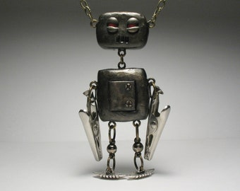Robot Necklace - Sci Fi, Polymer Clay, Art Doll