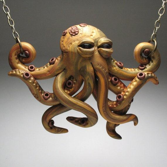 Golden Octopus Mini Necklace Wearable Art Sculpture