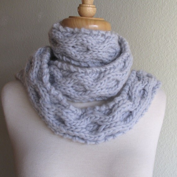scarf hand knit powder blue cable knit