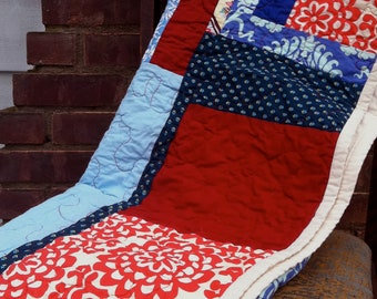 Blue, Red and Periwinkle Quilt with designer cottons