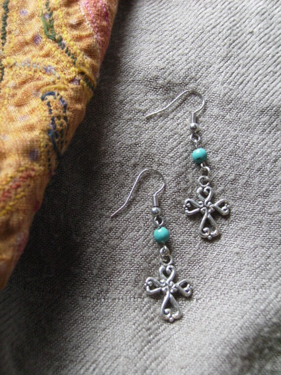 Indian Silver & Turquoise Cross earrings