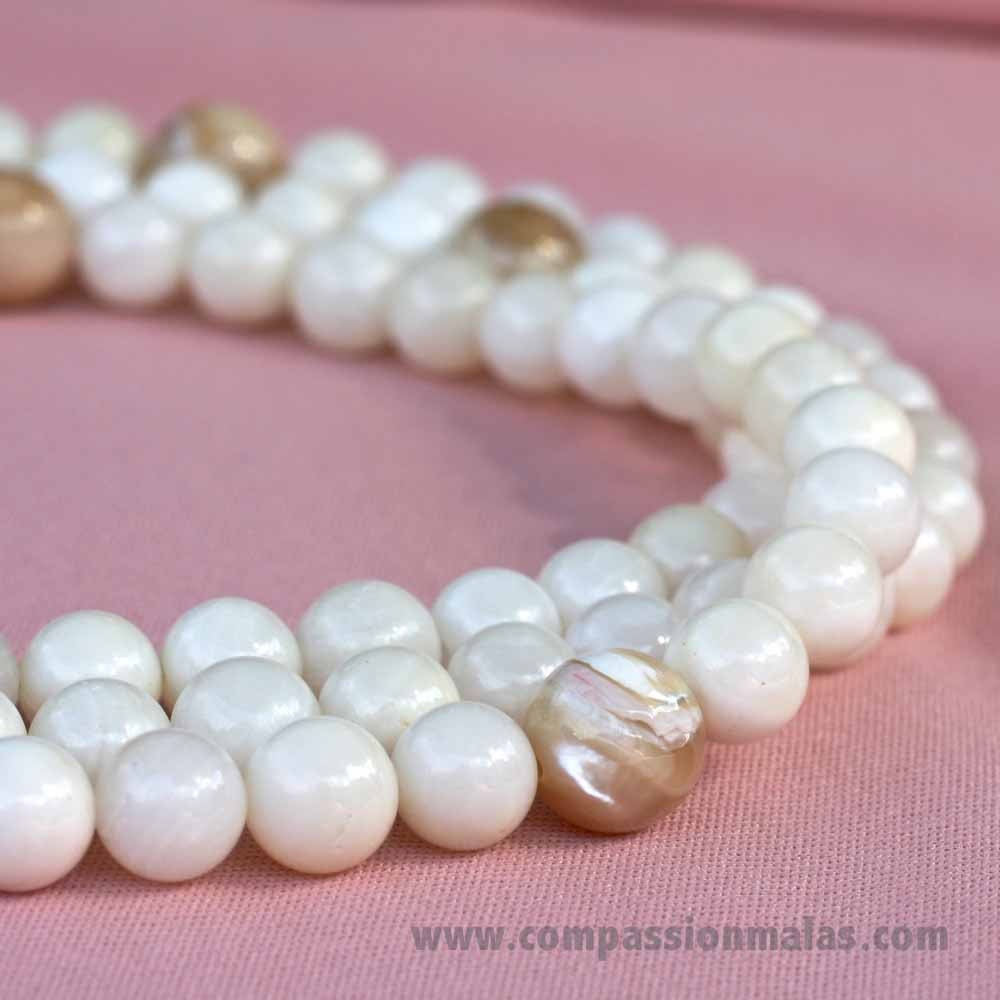Pearl Beads: 108 Or 111 Bead Mother Of Pearl Mala Necklace With Silk Tassel