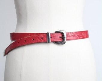 Vintage Tooled Leather Belt | Western Red Leather Belt | M-L