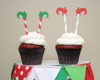 Christmas Elf Leg Cupcake Toppers