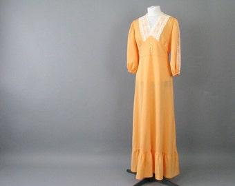 Vintage 1970's Boho Prairie Peach Prom Party Dress, Modern Size 12, Medium