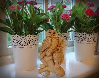 SALE - Owl Sculpture Simon Harris UK Artist 3D Mommy and Baby Owl - EnglishPreserves