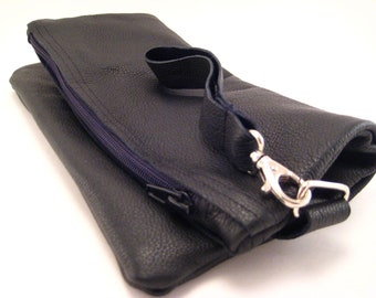 Quality Leather Black Clutch with lining and wrist strap