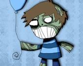 Boy Zombie Drawing Art Illustration Print