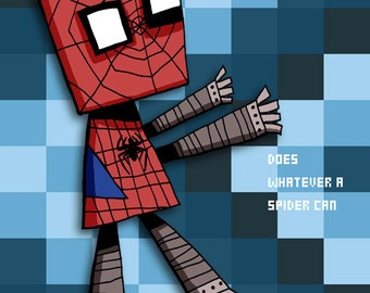 Robot Spider-man Art Illustration Print Superhero