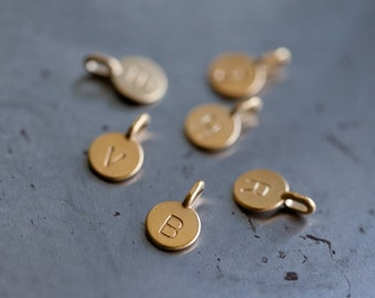 14k Gold Vermeil Tiny Initial Charm - Small Charm - Single Letter Initial Charms