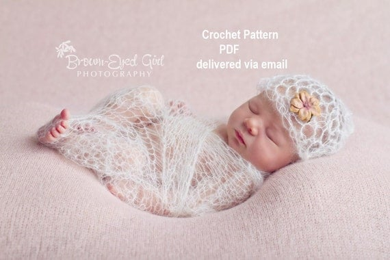 Crochet Patterns For Baby Washcloths : Mohair Lacy Baby Wrap and Hat Crochet Pattern PDF 204 by ...