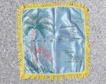 Pretty Vintage Mid-20th Century Souvenir Pillowcase - Miami Beach, Florida - Land of Sunshine - Sweetheart