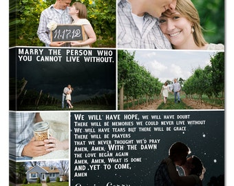 Gift Personalized Wedding Pictures Gift Photo Collage Canvas Words Text Quote Sayings 12x16