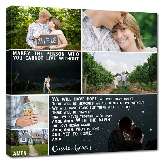 Gift Ideas Personalized Wedding Pictures Gift Photo Collage Canvas Words Text Quote Sayings 12x16