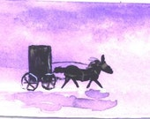 Amish Buggy 1 miniature painting by Jim Smeltz with ACEO