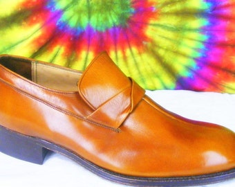 8 C mens vintage 60's brown leather FLORSHEIM IMPERIAL loafers shoes NOS