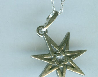 Sterling FAIRY STAR Pendant AND Chain - Elven Star - Septagram - Septacle