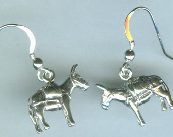 Sterling Silver PACK MULE  Earrings - 3D - French Earwires - Equestrian, Sports, Whoa Team