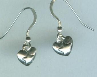 Sterling Silver HEART Earrings  - 3D - French Earwires - Very Dainty