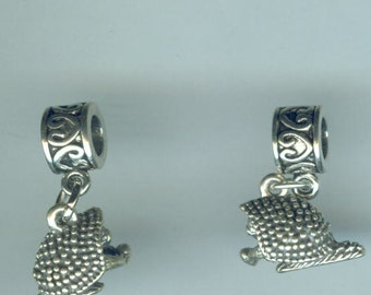 Sterling PORCUPINE Bead Charm for all Name Brand Add a Bead Charm Bracelets - 3D Wildlife, Totem