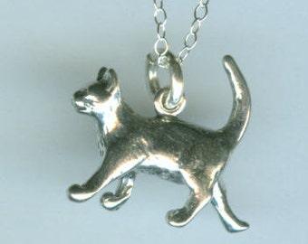 Sterling WALKING CAT Pendant with Chain - 3D - Pet, Kitten, Feline