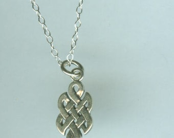 Sterling Silver CELTIC KNOT Pendant and Chain - Celt, Scottish, Irish, Renaissance