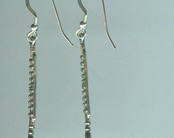 Sterling Silver FLUTE Earrings - French Earwires - 3D - Instrument, Music