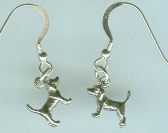 Sterling Silver BEAGLE DOG Earrings - French Earwires - 3D - Pet