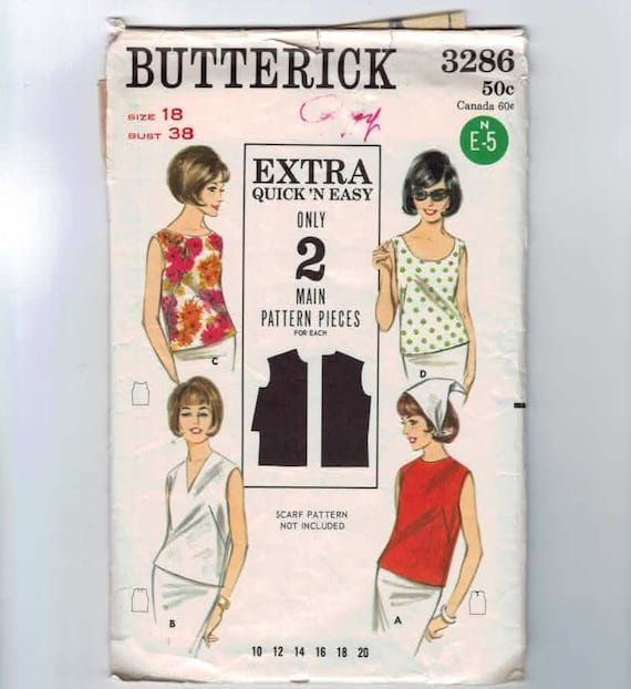 1960s Vintage Sewing Pattern Butterick 3286 Sleeveless Top blouse Size 18 Bust 38