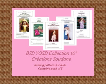 Complete collection pack of 5 PDF KNITTING PATTERNS Bjd Yosd Littlefee Boneka 10 inches dolls