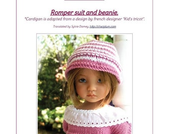 "58. English and  French INSTANT DOWNLOAD PDF knitting Pattern romper and beanie only 13"" dolls Little Darling, Narsha, Zihu"