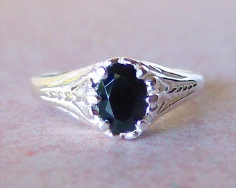 Genuine Black Spinel Sterling Silver Filigree Style Ring, Cavalier Creations