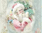 Pink Christmas Shabby Santa Roses Large digital download ECS buy 3 get one free - CottageRoseGraphics