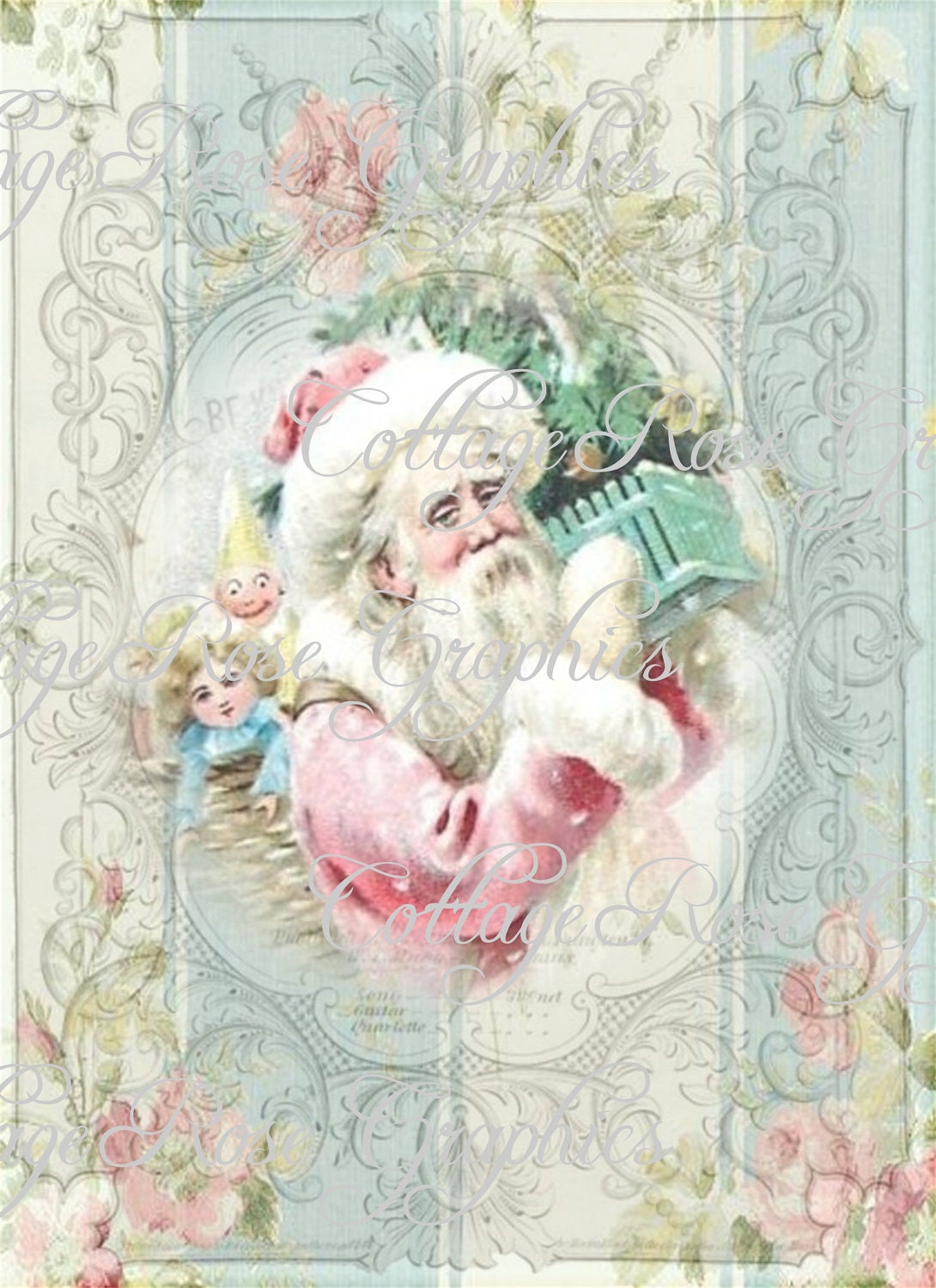pink christmas shabby santa roses large digital download ecs. Black Bedroom Furniture Sets. Home Design Ideas