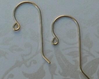 Solid 14K Gold Earwire - Shepherd Hook - 20 Gauge