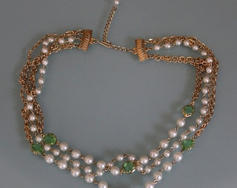 Vintage Layered Pearls and Chains Necklace