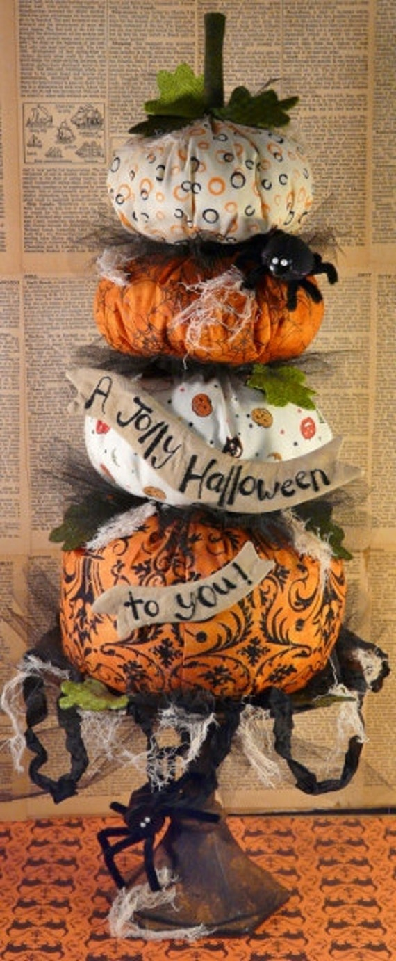 Big HALLOWEEN Pumpkin Stack PDF Pattern - primitive banner tulle decor prim spider email vintage grubby decoration party