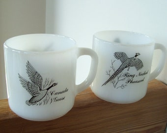 Two Vintage Federal Glass Milk Glass Mugs with game birds
