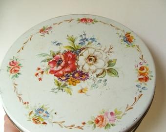 vintage De Mets Fruitcake Tin floral pattern