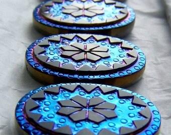 Glass Cabochon-Czech Glass Cabochon-Preciosa Brand Blue Victorian Iris Flower Cabochon-1