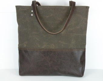 Waxed Canvas Bag / Brown Tote Bag / Carry all Bag