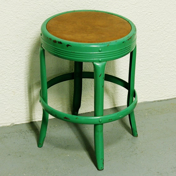 Vintage metal stool - Seat Master Russanov Company - kids stool - seat - industrial - shop stool - green