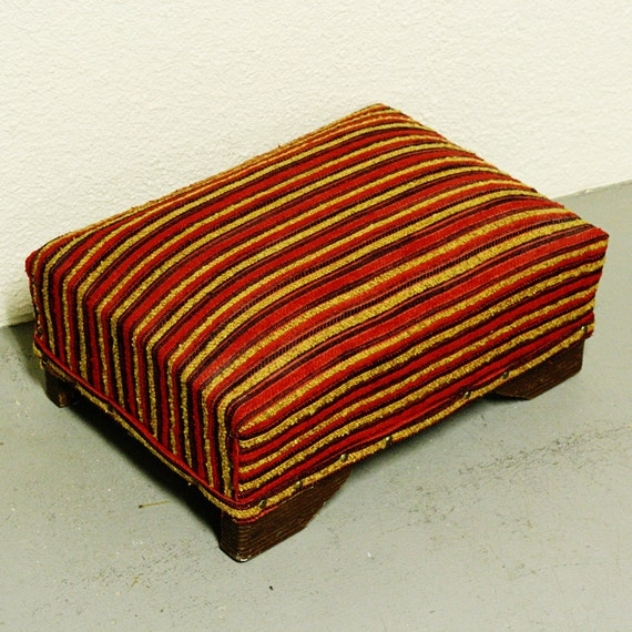 Vintage foot stool - hassock - ottoman - footrest - rectangle - red, gold, black striped - cushioned