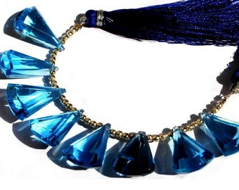 1/2 Strand - Extremely Beautiful AAA Swiss Blue Quartz Faceted Elongated Fan Shaped Fancy Briolettes Size 20x13mm