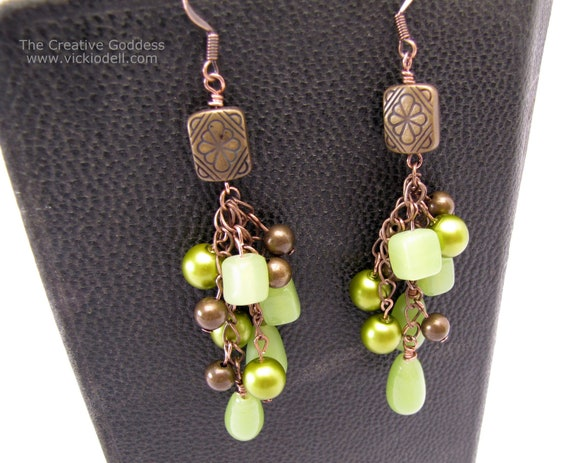 Vintage Brass, Copper and Green Long, Dangle Earrings