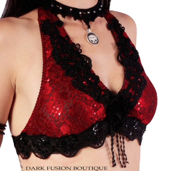 Halter, A Cup, Black and Red Lace, Noir, Bellydance, Dance, Costume, Tribal, Fusion, Vintage Style, Gothic