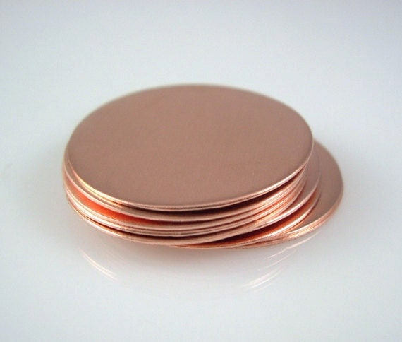 Copper DISCS, 1 1/4 Inch Round, 24 Gauge Hand Stamping Supplies Blank Finished  Smooth Engraving Jewelry Making Necklaces QTY 10