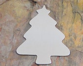 """5 Deburred 18G Aluminum 2 1/4"""" x 1 7/8"""" ornament sized Large CHRISTMAS TREE Stamping Blanks"""