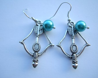 Princess Scottish Earrings Bow Arrow with Blue Will O' The Wisps